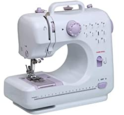 FAB Innovations Sewing Machine Multifunctional Crafting Mending Machine with Pedal LED Light 12 Built-in Stitch Patterns