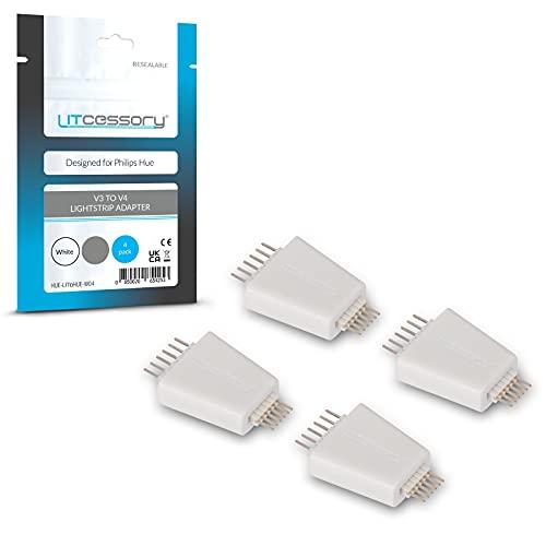 Litcessory Adaptador de Tira de Luz V3 a V4 para Philips Hue Lightstrip Plus (Paquete de 4, Blanco)