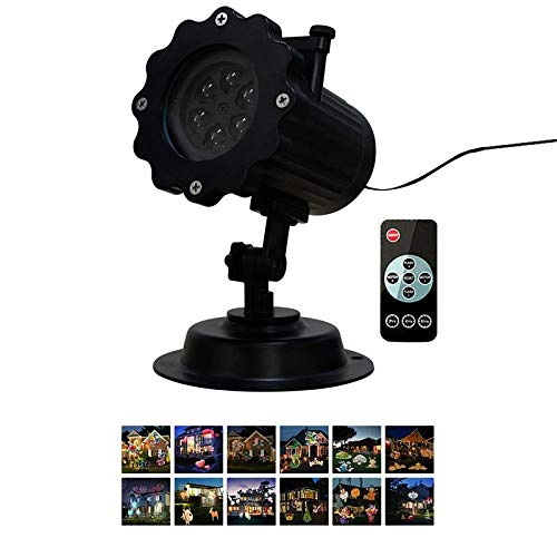 YanYun 12 Patterns Christmas Projector Night Light with Remote Control Outdoor Projection Lamp Home Holiday Decor-UK Plug