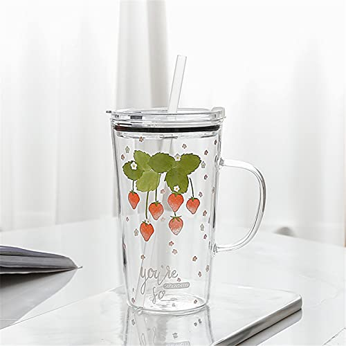 RZHIXR Taza De Jugo Transparente De Vidrio con Mango De Taza De Agua De Paja De Fresa, Taza De Leche para El Hogar, Taza De Agua De Oficina 450ml