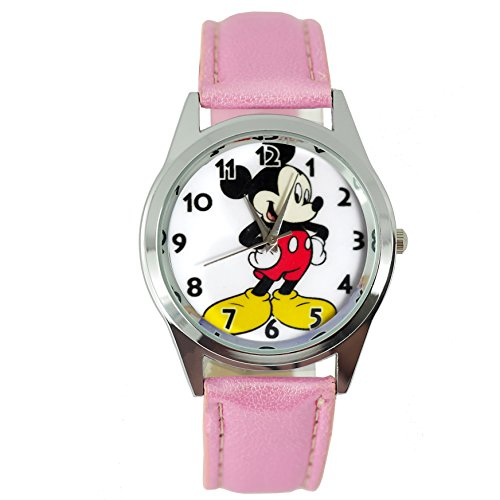 taport® Mickey Mouse Quarzuhr pink Leder Band Disney + Gratis Ersatz Batterie + Gratis Geschenkverpackung