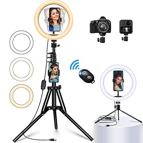 "Anillo de luz para Selfies de 12""con trípode de 63"", 3 Modos LED, 10 Niveles de Brillo, Alimentado por USB, cámara y Profesional para transmisión en Vivo, Maquillaje, fotografía, Videos de Youtube"
