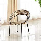 WOAINI Conjuntos de conversación Patio de Muebles de Mimbre al Aire Libre de 3 Piezas Bistro fijado Silla de Mimbre con Mesa de café / 23.6x27.9inches (Color : A, Size : (71x60cm))