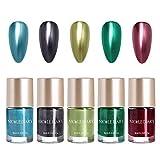 NICOLE DIARY 5 botellas de esmalte de uñas metálico efecto espejo laca Colorido esmalte de uñas de metal brillante esmalte de manicura (5 colores)