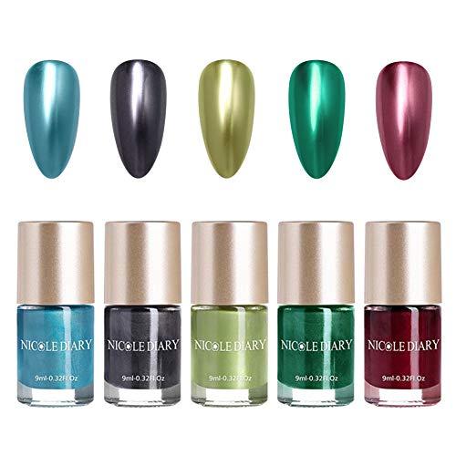 NICOLE DIARY 5 Flaschen Metallic Nagellack Spiegeleffekt Lack bunter glänzendes Metall Nagellack...