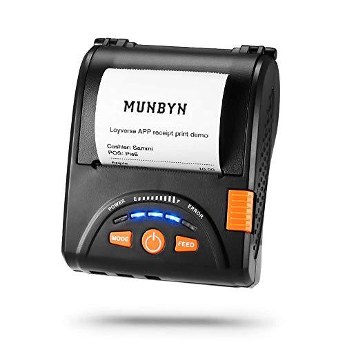 MUNBYN Impresora de Recibo Térmica 58mm, Mini Impresora Portáctil de Ticket, Coneccíon Inalámbrica por Bluetooth 4.0/ USB, ESC/POS Compatible con Android/Windows, Cinturón Incluida