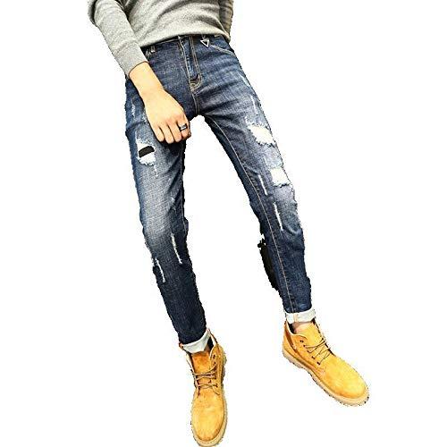Pantalones Vaqueros de Primavera y Verano para Hombre, nuevos Pantalones Vaqueros Ajustados elásticos Rasgados con Personalidad Retro, Pantalones de Mezclilla de Moda Informal 29
