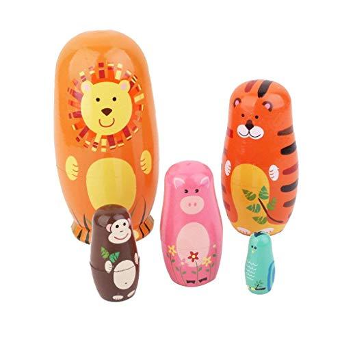 Romote 5pcs / Pack Handgemachte Tier Nesting Dolls Authentische Russisches Holz Matrjoschka-Puppen Nette Karikatur-Tiere-Muster-Puppe-Spielzeug-Geschenk-hauptdekoration Ornament