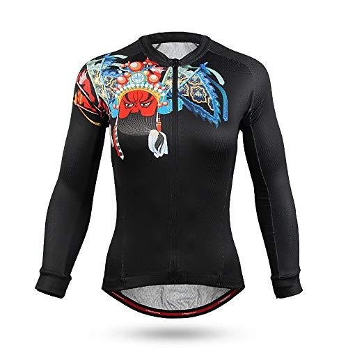 Atmungsaktives Fahrradtrikot Sommer Jersey Damen Langarm-Shirt Abnutzung Schwarz Sonnenschutz und UV-Schutz Sommerkleidung (Farbe : A1, Size : XL)