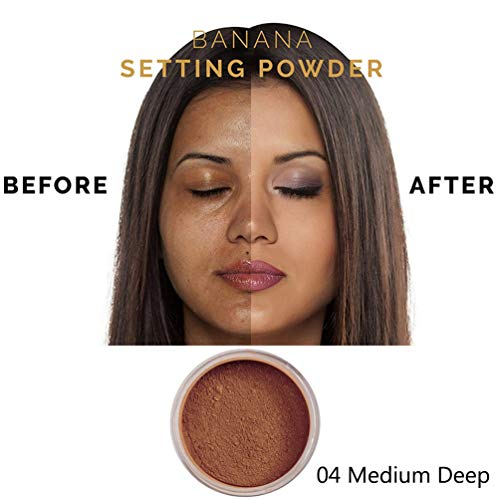 PHOERAFace Powder, Firstfly Loose FacePowder Translucent Smooth Setting Foundation Makeup, 1.02 Oz (#04 Medium Deep)
