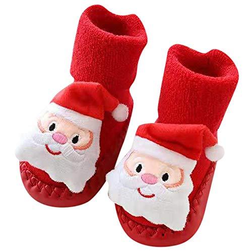 Fossen Disfraz Navidad Bebe Niña Niño Calcetines de Piso Antideslizante - Patrón de Papa Noel Arbol de Navidad Reno (0-6 Meses, Papa Noel)