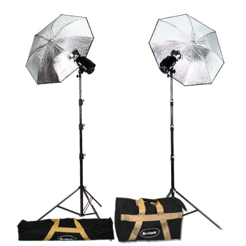 Britek#300SK_AC/DC Professional Photography 300w/s Battery Powered Strobe Kit with 2 Compact Light Stand+2 Umbrella+2 Reflector+2 Carrying Bag