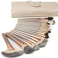 18 Piezas Pinceles de Maquillaje Juego de Pinceles de Maquillaje con Estuche de Viaje Mango de Madera Cepillo Kabuki de...