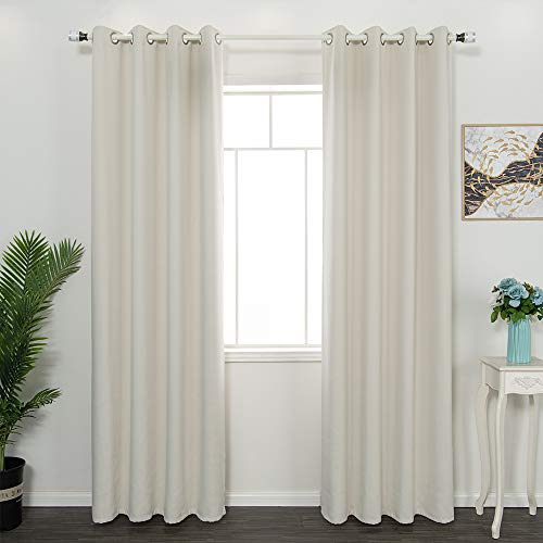 FULAN Ivory Grommet Top Room Darkening Panels/Curtains/Drapes for Bedroom Thermal Insulated (2 Panels, W52 x L84 inches, Ivory)