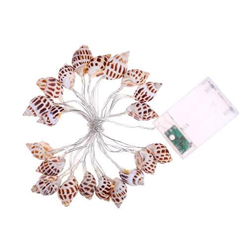 Sea Shell Fairy Lampe Warmweiß Beleuchtung LEDs Schöne Muschelschnur Licht Batteriebetrieben für Urlaub Hochzeit Home Fenster Dekoration (2.3M/20LED)