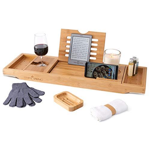 Temple Spring Badewannenablage mit Halter für Kerze, Weinglas, Buch, Tablet, iPad & Telefon Ausziehbare/verstellbare Brücke aus natürlichem Holz als Badewannenablage. Zu 100% aus Bambus. (natürlich)