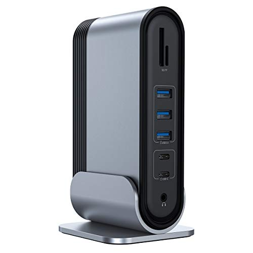 [16 Ports] Docking Station, Vierfach-Display Universal USB Hub, M1 Displaylink, 4K-[2 HDMI & 2 DP], 3 USB 3.0, 2 USB C, RJ45, Audio, Typ C PD, DC, SD/TF Kartenleser Kompatibel für Wins/Mac Laptop
