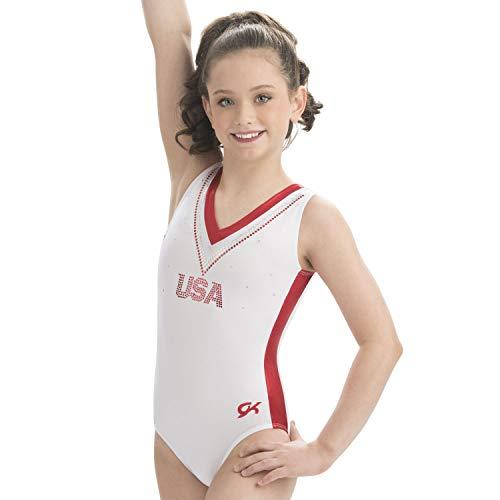 GK Gymnastics Leotards for Girls USA National Team Replica (Red/White, AXL)