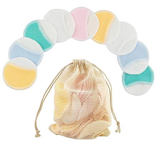 Waroomss - 10 discos desmaquillantes reutilizables, discos de algodón naturales de doble capa con cesta para la colada, toallas suaves y ecológicas para la limpieza facial