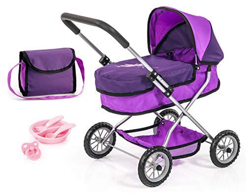 Bayer Design 12212AC poppenwagen Smarty, poppenwagenset met tas, fopspeen en bord met eetbestek, paars met fee