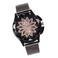 Hellery レディース 腕時計 花柄 クォーツ 豪華 ステンレスハンド ダイヤモンド付 バングル ギフト 全3色 - ブラック