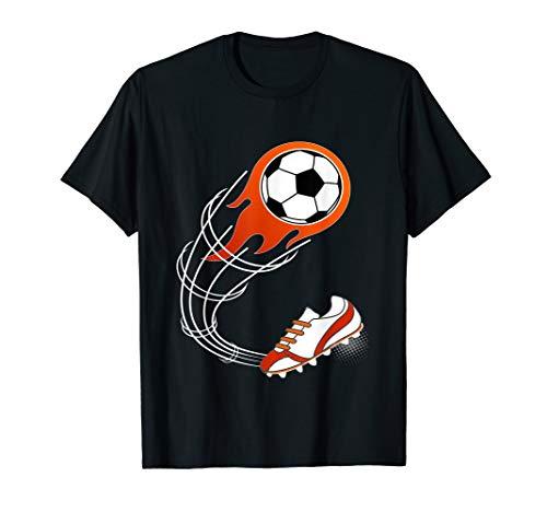 Cute Soccer Gift For Boys Or Girls - Flaming Soccer Ball T-Shirt