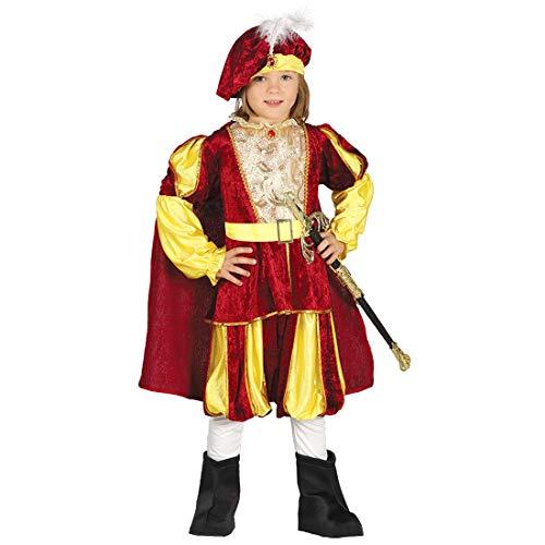 Amakando Majestuoso Disfraz de príncipe para niño / Rojo-Dorado 5 - 6 años, 110 - 115 cm / Disfraz de Cuento de Hadas fabula nobleza / El Punto Cumbre de Carnaval Infantil y Festivales Medievales