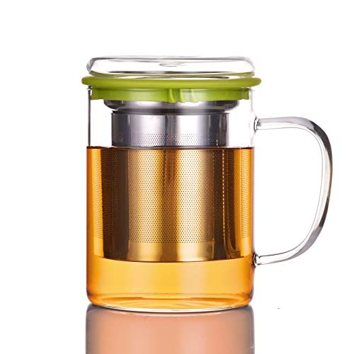 Tomotime Glass Tea Cup with Lid and Stainless Steel Infuser Basket Perfect Clear Tea Mug for Office and Home Uses for Loose Leaf Tea Steeping 13.5 Ounce,400ml, Green