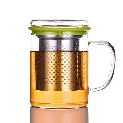 SULIVES Glasbecher Teetasse mit Edelstahlfilter und Cover,13.5oz/400ml Grün
