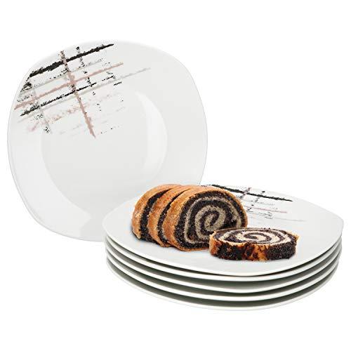 MamboCat 6er Set Kuchenteller Crossy Industrial Style I 6 Dessertteller Ø 19 cm I Dessert-Teller-Set eckig I Pflegeleichte Frühstücksteller f. 6 Personen I Kuchen-Servier-Teller weiß 6 Stück