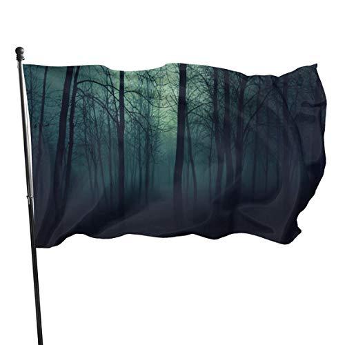 N/A Drapeau de la Garde Américaine Bannière de la Maison Drapeaux Creepy Arbres Forêts Foncées Brume Verticale Cour Pour Famille Patio Collège Décoration 3 x 5 pieds