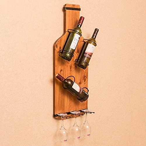 JHGJBJ Estantería de Vino, Estante para Vino de Madera Maciza, Estante de Pared para Sala de Estar, Estante para Copas de Vino, Estante para Vino Minimalista Moderno para Sala de Estar y Comedor