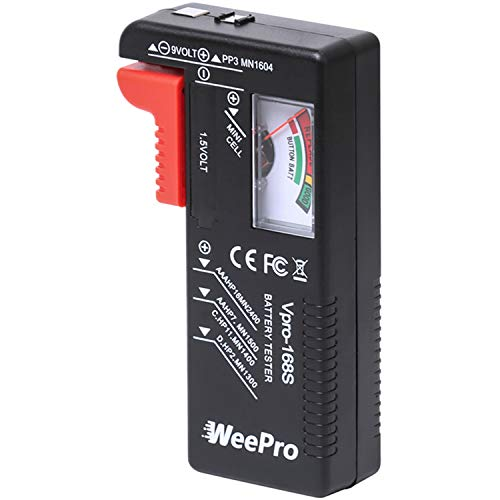 Battery Tester Checker by WeePro - UniversalBattery Tester Monitorfor AA AAA C D 9V 1.5VButton Cell Batteries - Household Battery Life Level Testers Power Meter