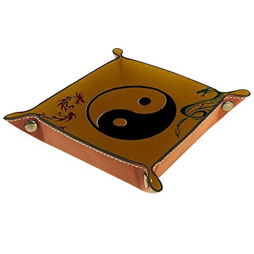 FCZ Ying Yang - Bandeja organizadora de cuero con diseño de dragón chino (20 x 20 cm)