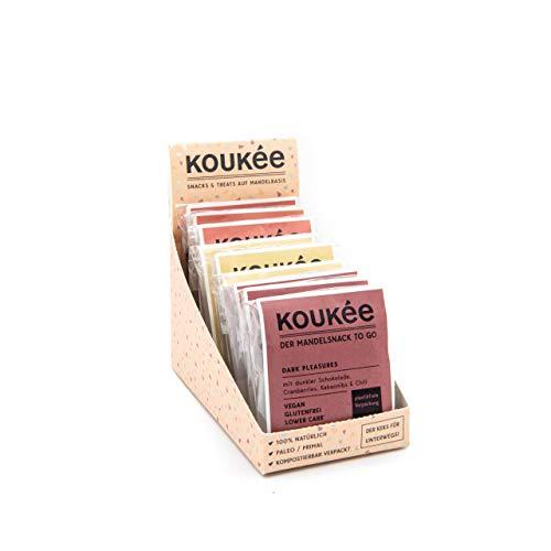 Koukée - der Mandelsnack To Go, Mixed Box mit drei Sorten, glutenfrei, lower carb* und vegan, Cookie-ähnlicher Snack/Riegel/Keks zum Kaffee oder für unterwegs, kompostierbar verpackt (9x 35g)