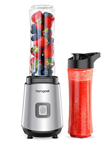 homgeek Personal Mini Blender Smoothie Maker, Portable Juicer Cup, Electric Power Mixer for Fruit and Vegetable,with Travel Lid and 2 Tritan Travel Sport Bottle 600ml/20oz (2020 Newest Version)