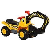HOMCOM 4 en 1 Excavadora Juguete para Niños Mayores de 18 Meses Tractor Infantil con Pala Caja Oculta de Almacenaje Aro de Baloncesto Volante Giratorio 98x30x46 cm Amarillo