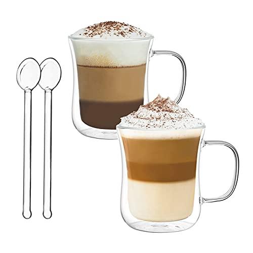 Vasos de Café de Doble Pared Juego de 2-120ml Tazas de Vidrio Borosilicato - Vasos de Café con Mango para Espresso, Té, Latte, Leche, Cappuccino, Jugo - 2 Cuchara de Vidrio Gratis