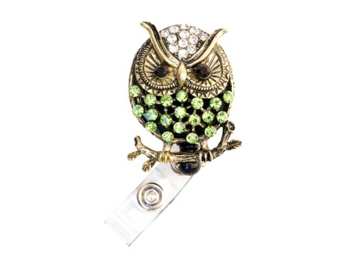 New Custom Bling Rhinestone 3D Animal Badge Reels / Retractable ID Badge Holders / ID Badge Pull Reels (3D Green Owl)