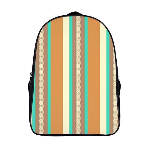 XIAHAILE Kompakte Rucksack Büchertasche für Männer und Frauen, leichter Rucksack für Schul und Urlaubsreisen,Mitte Jahrhundert Markise Streifen Bräune Türkis