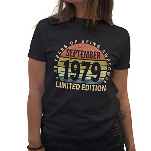 Lapi Boutique Birthday Limited Edition Vintage 1979 September Birthday 40 Years Jahre Gift Geburstag Camiseta de Mujer Negra Size M