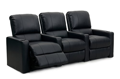 Octane Seating CHARGER-R3SM-BND-BL Charger XS300 Leather Home Theater Recliner Set (Row of 3), Black