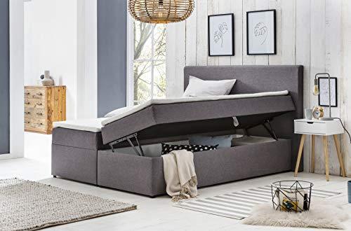 Furniture for Friends Möbelfreude® Polsterbett Bianca | 160x200 cm Hellgrau H2 | mit Bettkasten & hochwertiger Bonell Federkernmatratze | Boxspringbett-Optik