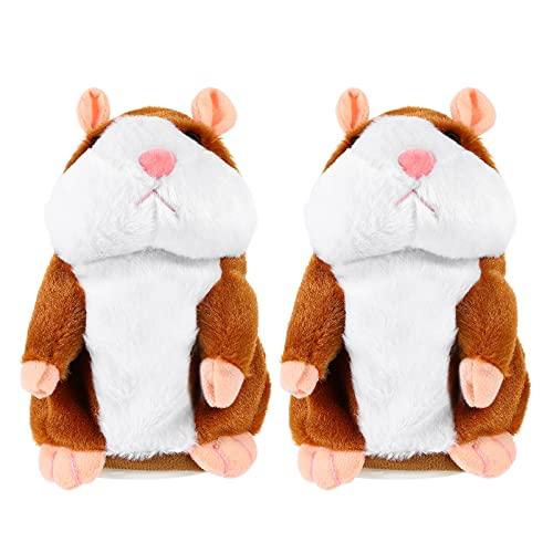 TOYMYTOY 2 Piezas de Peluche de Juguete Interactivo Que Habla del Ratón del Hámster Juguete Interactivo Repetir Lo Que Usted Dice Mascota para Los Niños Juguetes de Peluche de Aprendizaje