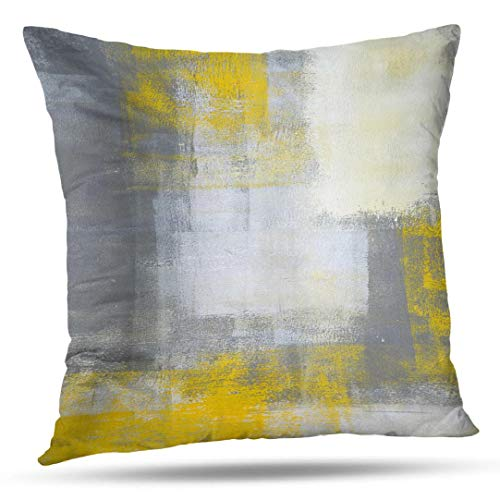 Alricc Grey and Yellow Abstract Art Pillow Cover, Gray Modern Artwork Decorative Throw Pillows Cushion Cover for Bedroom Sofa Living Room 20 x 20 Inch