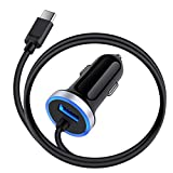 3.4A Fast Charging Car Charger for Samsung Galaxy A50 A20 A51 A70 A71 S21 Ultra S20+ A21 A10E S10E S9 S8 Note 20 10+ 9 8, LG G8X G7 Q7+ V50 ThinQ Stylo 6/5/4 USB Car Adapter 3ft Type C Charging Cable
