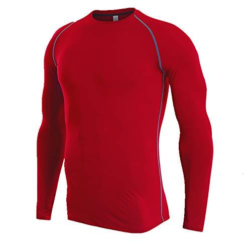 NOBRAND Fitness Suit Herren Trainingsanzug Schnelltrocknend T-Shirt Ärmel Sportswear Gr. 56, rot