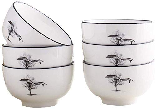 Keramikschale im chinesischen Stil 6 Sätze |Küche Weiße Suppenschüssel |Dickes Verbrühschutzmittel |Zwei Größen zur Auswahl (Farbe: 5,0 Zoll)