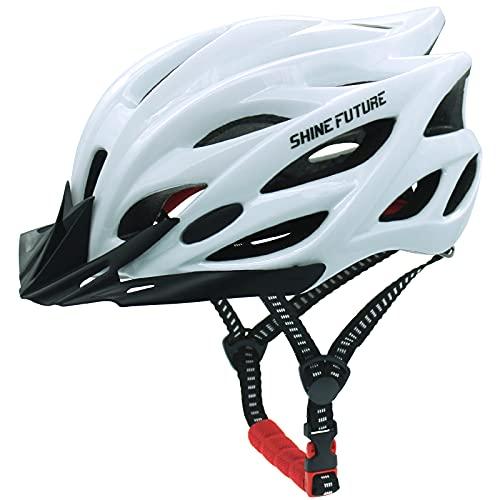 Fahrradhelm für Erwachsene, verstellbare leichte Fahrradhelme für Männer und Frauen, Rennrad- und Mountainbike-Helm mit abnehmbarem Visier und LED-Rücklicht (Weiß)