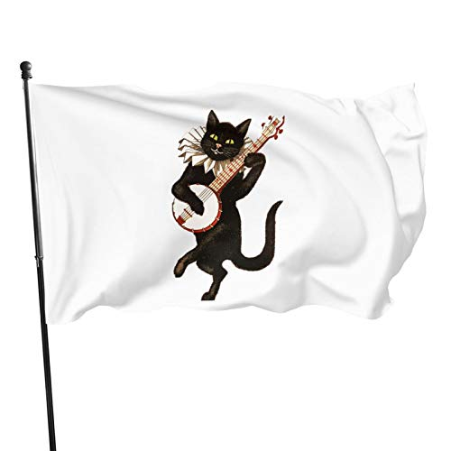 TIANPA Halloween Cat Playing Violin Garden Flags Election Banner for American Flag Decoration Banner Flag 3x5 Feet